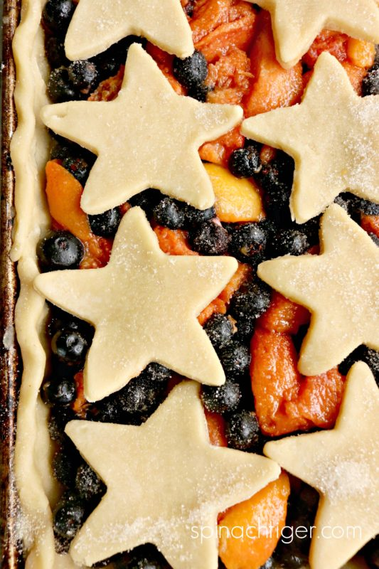 Sheet Pan Pie with star designs